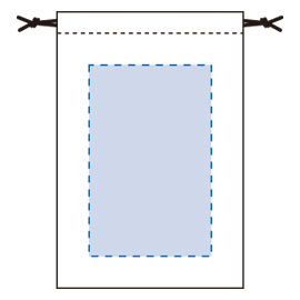 コットン巾着(M)の印刷範囲